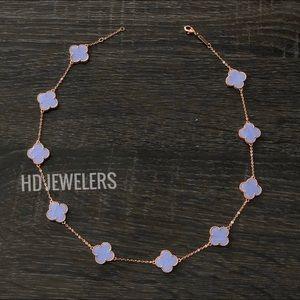 Jewelry - 10 Rose Gold Leaf Clover Lavender Leaf Necklace
